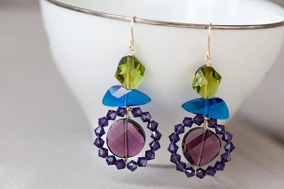 Purple Peacock - Earrings, crystal 14k goldfilled, wirewrapped