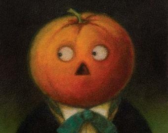 Pumpkin Print - Halloween Print - Jack O Lantern  - Pumpkin Head Man 2