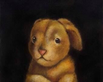 Vintage Steiff Rabbit Portrait - Stuffed Bunny Toy - Vintage Toy -Childrens Art