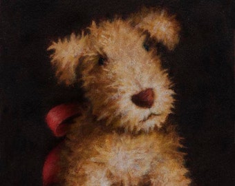 Vintage Toy Dog Print, Dog Toy Print, Toy Dog Portrait Print, Stuffed Dog, Antique Dog