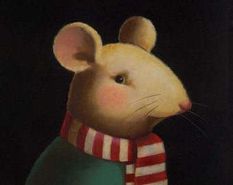 Christmas Mouse Print - Mouse Portrait - Candy Cane Scarf - Anthropomorphic Mouse - Christmas Animal Portrait