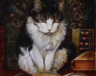 Cat Painting Print- Mathmetician Cat Portrait- Funny Cat - Anthropomorphic Cat -