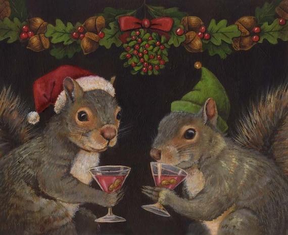 Squirrel Print, Squirrel Portrait, Christmas Squirrel Print, Animal Portrait, Anthropomorphic, Squirrel Lover Gift, Animal Lover Gift