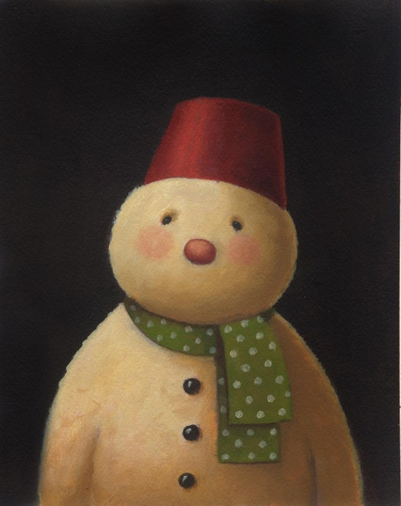 Snowman Portrait Print - Snowman Art -  Christmas Print - Christmas Art - Fez
