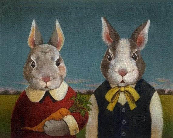 Rabbit Portrait Print - Rabbit Couple - Bunny Rabbit - Easter - Farmers