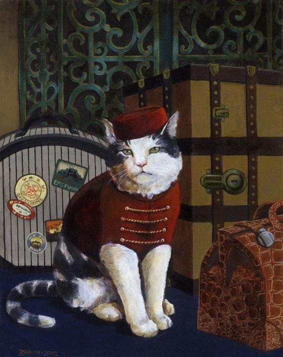 Cat Portrait Print - Cat Art - Pet Portrait - Tabby Cat - Bellboy Cat - Funny Cat - Cats in Clothing