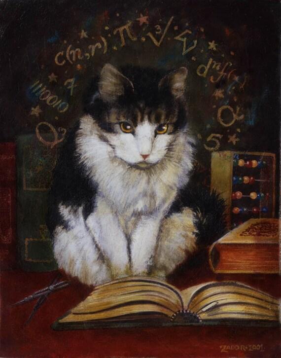 Cat Portrait Print - Mathmetician - Funny Cat - Anthropomorphic Cat -