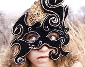Black Velvet Mask with Painted Gold Lace