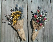 Set of Two Handmade Burlap Cones Filled With Dried Roses Lavender Pussy Willows Tansy