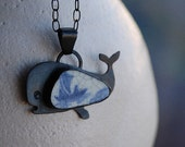 Pottery Shard jewelry - Whale Pendant With Trapped Boat