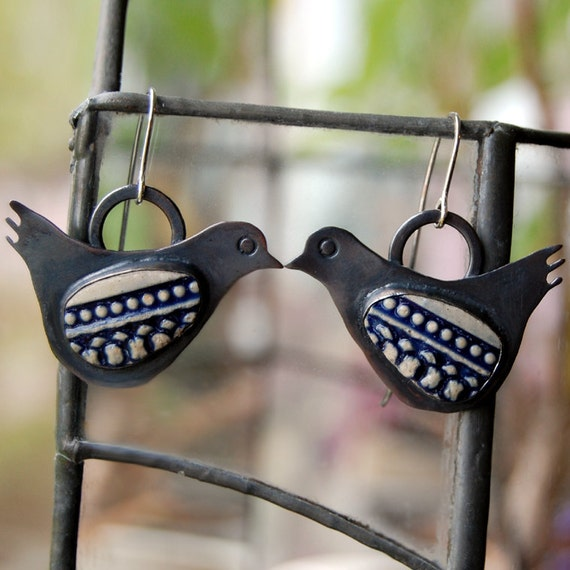 Pottery Shard jewelry - Bird Earrings in Copper and Silver, navy cream textured