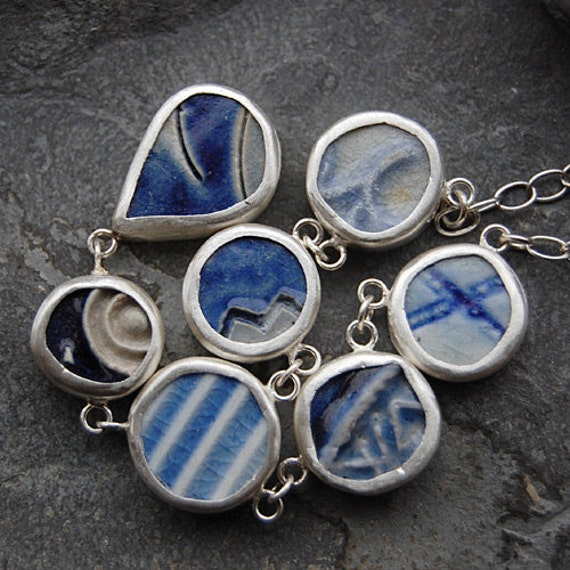 Pottery Shard Jewelry - Y Necklace with Textured Blue pieces on Sterling Silver Chain