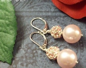 Pink Pearls and Crystal Leverback Earrings