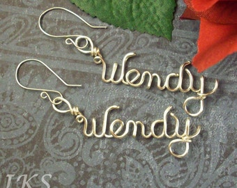 Personalized Sterling Silver Name Earrings with Sterling Silver French Wires