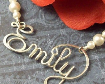 Personalized Calligraphy Style Script Name in Sterling Silver, Heavy Gauge Wire