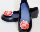 Satin Flower Shoe Clips in Peach Dreams