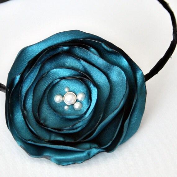 Midnight Teal Flower Headband