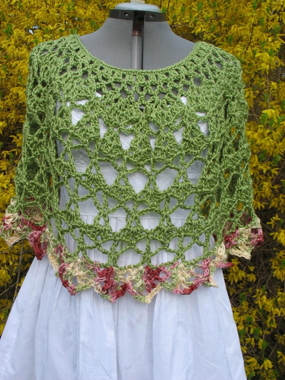 Lacy Crochet Ladies Capelet, Shoulder Wrap, Poncho, Shawl, Cover Up-for Women or Teens- in Green and Rose Multicolor