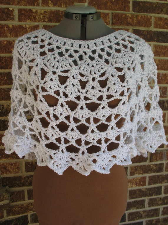 Lacy Crochet Ladies Capelet, Shoulder Wrap, Shawl, Poncho, Cover-Up -in Crisp White with Sparkle