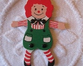 SALE Vintage RAGGEDY ANN Fold Up Ornament with Movable Arms and Legs