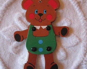 SALE Vintage TEDDY BEAR Fold Up Cardboard Ornament  Movable Arms and Legs