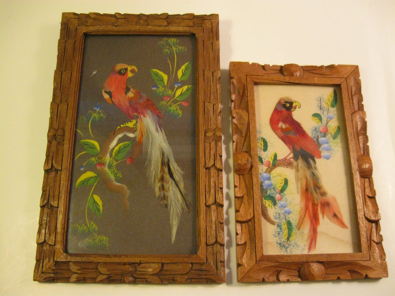 Wood Framed Bird Feather Art Pictures Mexico Wall Decor