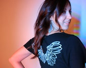 Organic Cotton/Hemp 'I am BLESSED' Black Angel Wings Tunic - size large - 50% Off!