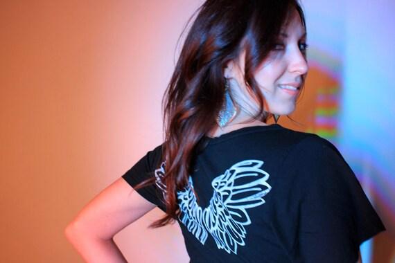 Organic Cotton/Hemp 'I am BLESSED' Black Angel Wings Tunic - size large - 50% Off!
