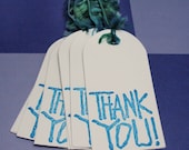 Thank you tags - set of 8 - teal blue - Mission trip Fundraiser