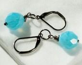 FIVE DOLLAR SALE! Blue Earrings. Gunmetal Earrings. Glass Pendants. Blue Raindrops. Drops of Jupiter. Semi-translucent Czech Glass beads.