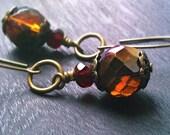 Mocha Brown Earrings. Gorgeous faceted Czech glass beads. Burnt Caramel Earrings. Antiqued brass and Czech Glass Earrings.