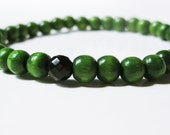 Green Bracelet. Stackable Wood Bracelet with Signature Black Onyx Gemstone accent Stretch Bracelet Green Jewelry Christmas Stocking Stuffer
