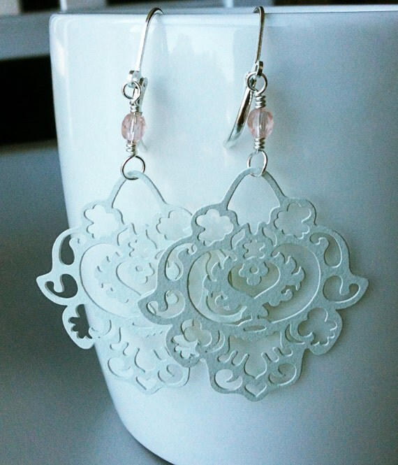Paisley Chandelier Earrings. The Persian Collection. Rosewater. White Enamelled Filigree Antiqued Brass & Silver