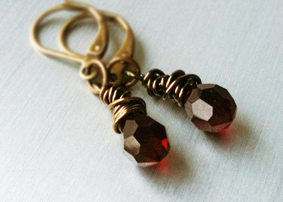 Tiny Red Earrings. Wire Wrapped Antiqued Brass Czech Glass. Red Glass Jewelry. Gothic Earrings. Vampire Costume.