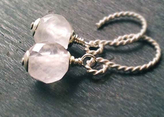 30% OFF SALE! Rose Quartz Earrings. Bali Sterling Silver Earrings Natural gemstone jewelry Pale pink Quartz Jewelry Sterling Silver Jewelry
