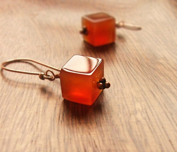 Carnelian Earrings. Love Attraction. Copper and Caramel Squares. Intention and protection. Golden warm amber.
