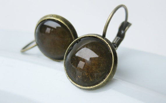 Glass Dome Earrings. Harvest Moon. Antiqued Brass Vintage Inspired. Victorian Edwardian Art Deco. Delicate and Tiny