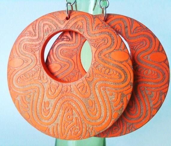 50% OFF SALE! Orange Earrings. Wood Earrings. Tribal Jewelry. Silver Earrings. Bohemian Jewelry. Statement Earrings.