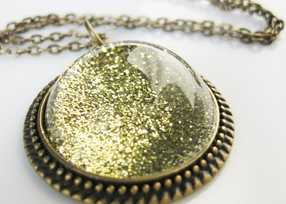 Gold Stardust Necklace. Trapped Golden Galaxy Necklace. Looking Glass style fancy Monocle. Boho Chic.