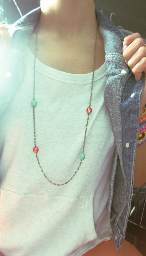Turquoise & Coral Necklace. Antiqued Brass chain with Glass beads. Bohemian flair. Layering necklace. Trendy and flirty.