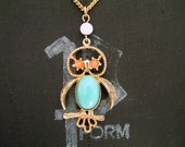 Vintage Owl Tiny Blue and Gold Necklace