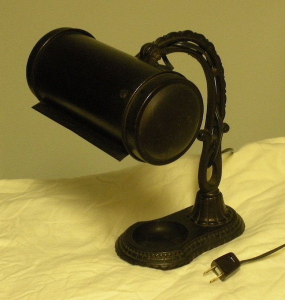 antique vintage bankers desk lamp with inkwell