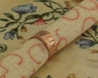 Copper Ear Cuff With Peace Symbol