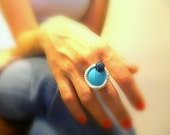 Turquoise Crochet Ring, Handmade, Silver Lame Cotton Yarn, Black Glass Bead, Adjustable