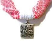 Pink Nautical Necklace, Shocking Pink Fiber, White Cotton Yarn, White Cord, Silver Pendant