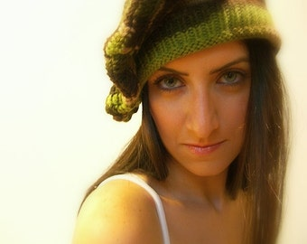 Winter Beret Hat, Handmade, knit, Crochet, One Size, Floppy, Multicolor Green, Brown, Beige, Olive