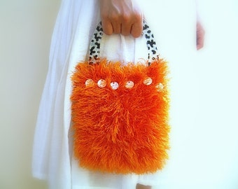 Fluffy Halloween Hand Bag, Knitted Luxury Orange Yarn Pouch, Cheetah Plastic Handle, Zebra Lining, Mother Of Pearl Ivory Beads