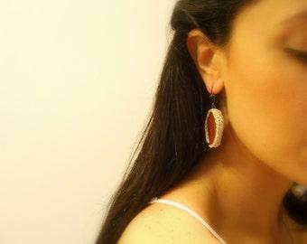 Handmade Crochet Earrings, Brown, Golden Ivory, Agate, Black Glass Beads, Lever Back Hooks