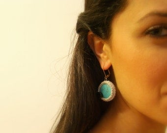 Crochet Earrings, Turquoise, Silver Lame Cotton Yarn, Black Glass Beads, Silver Lever Back Hooks