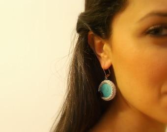 Crochet Earrings, Turquoise, Silver Lame Cotton Yarn, Black Glass Beads, Silver Lever Back Hooks